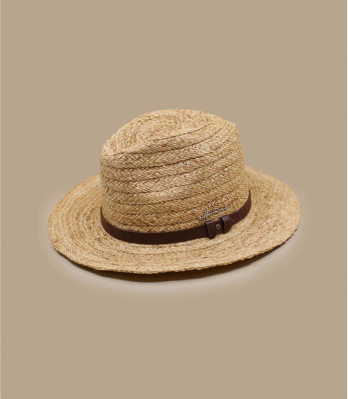 straw fedora leather trim.