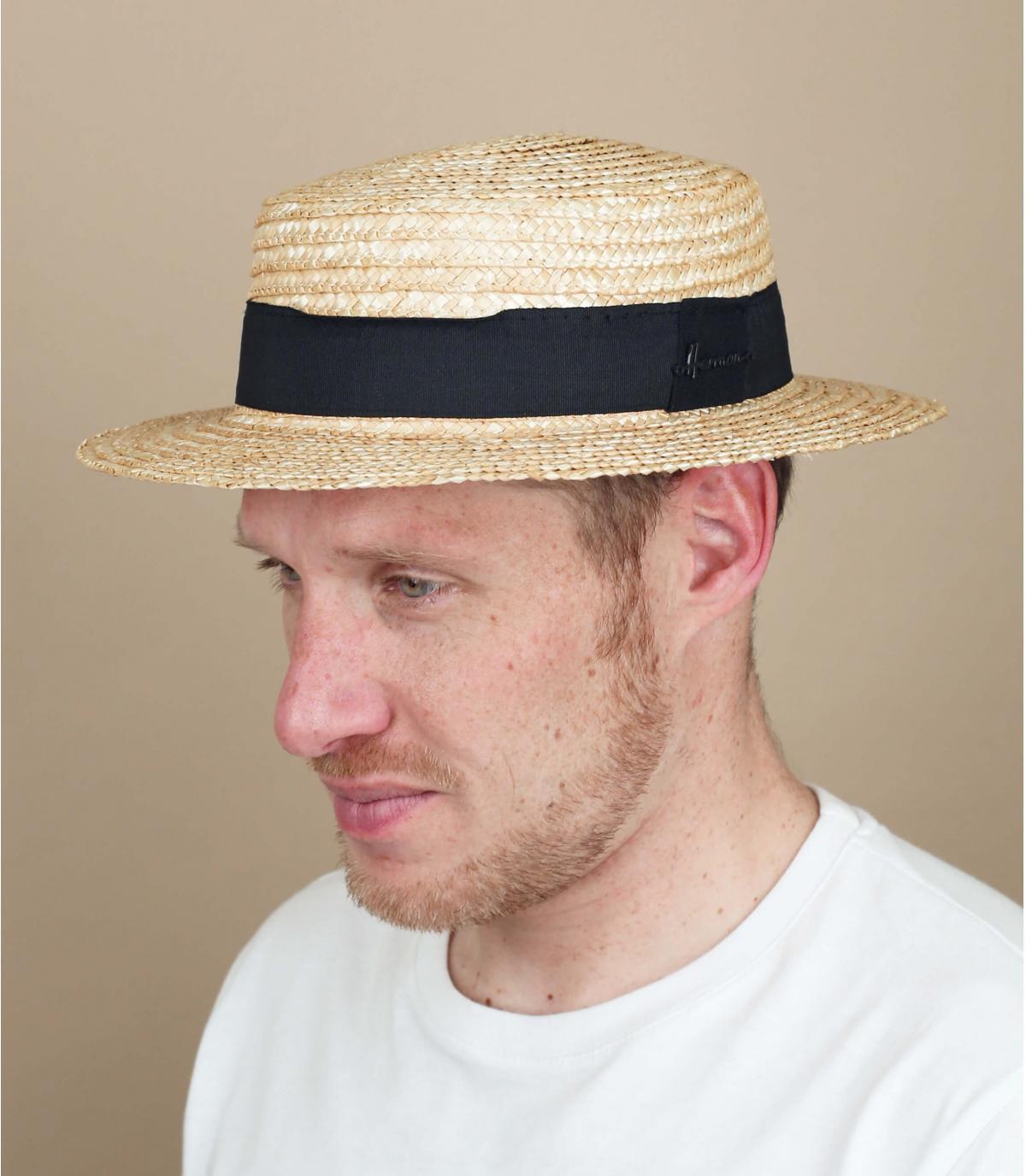 straw boater black tape