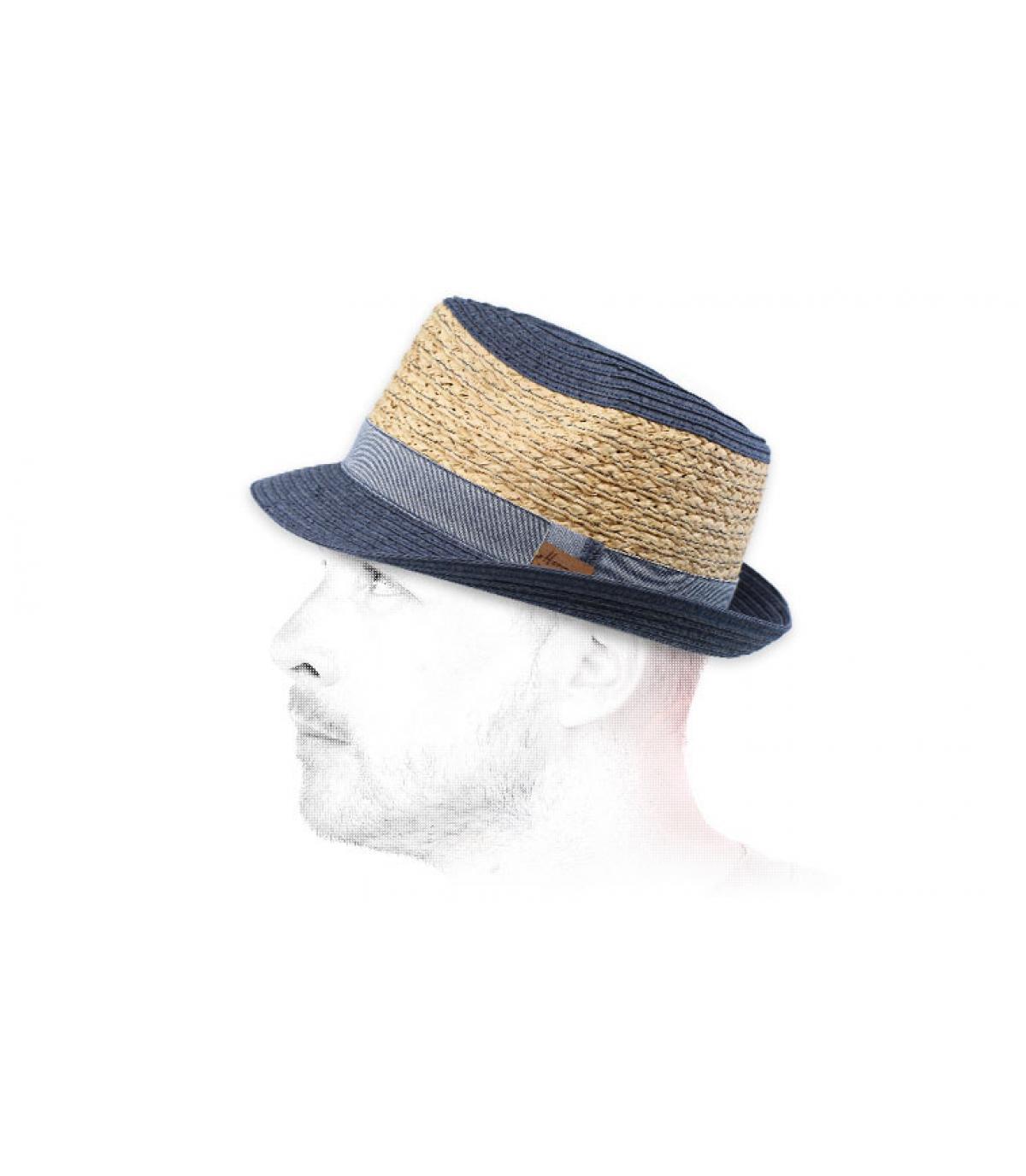 blue beige straw trilby