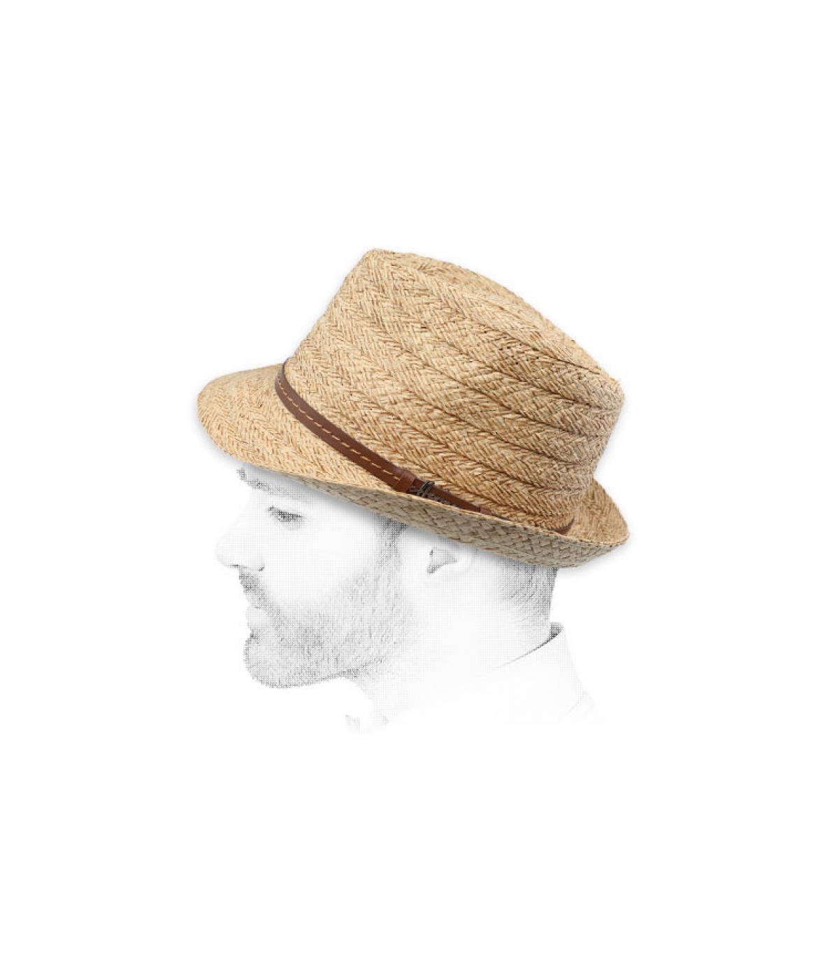 beige straw trilby Herman