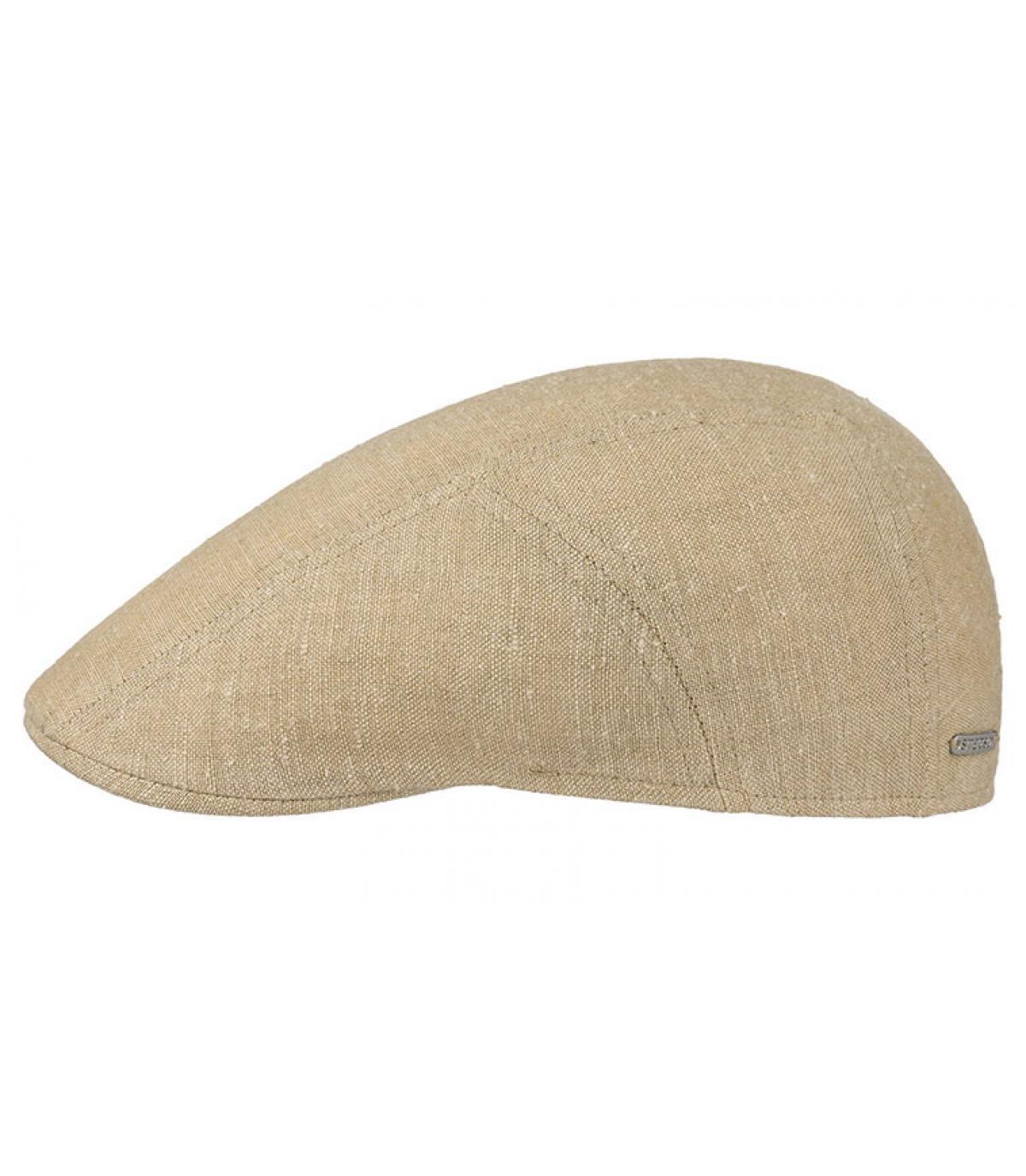 beige flat cap linen silk