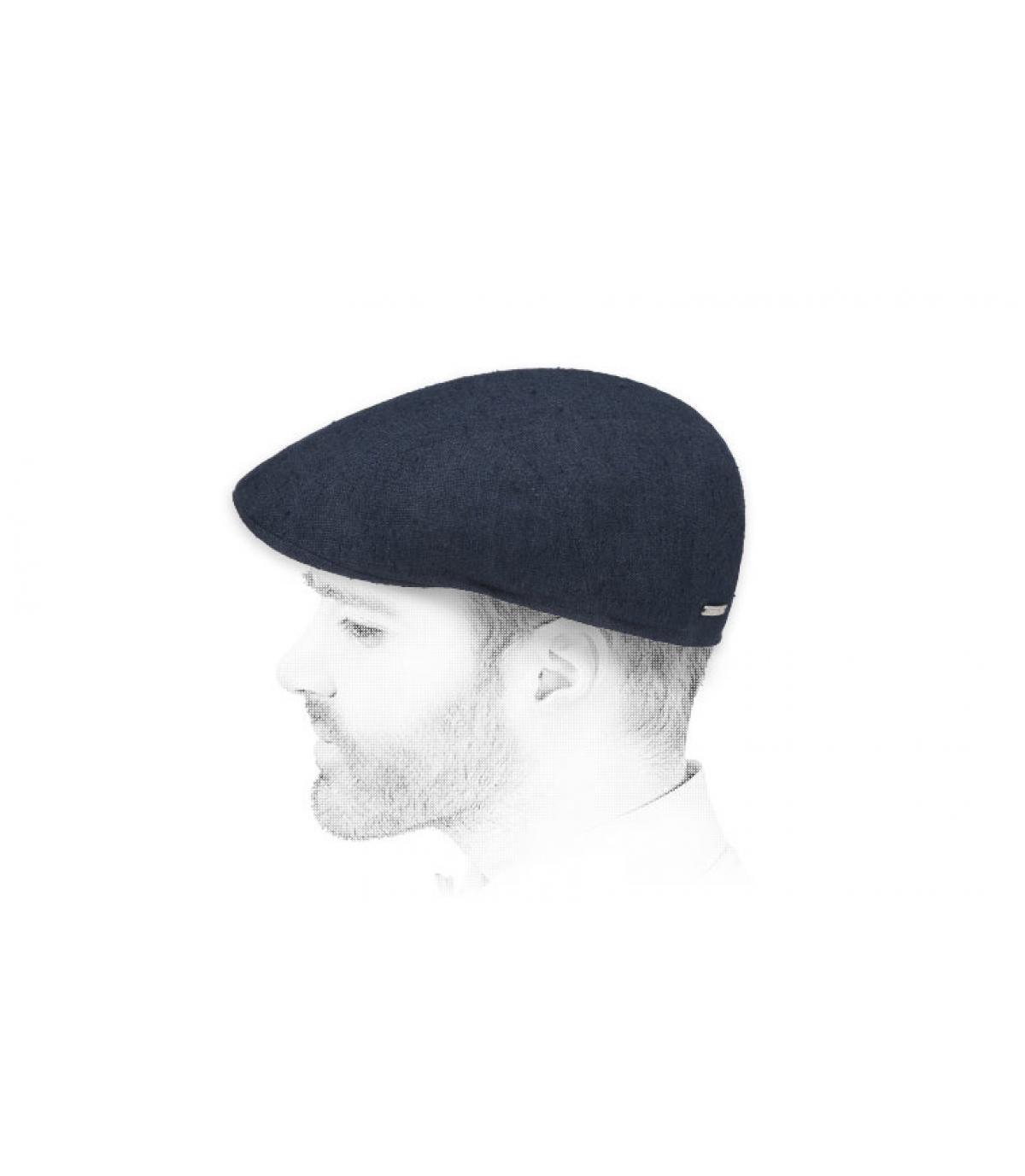navy flat cap linen silk