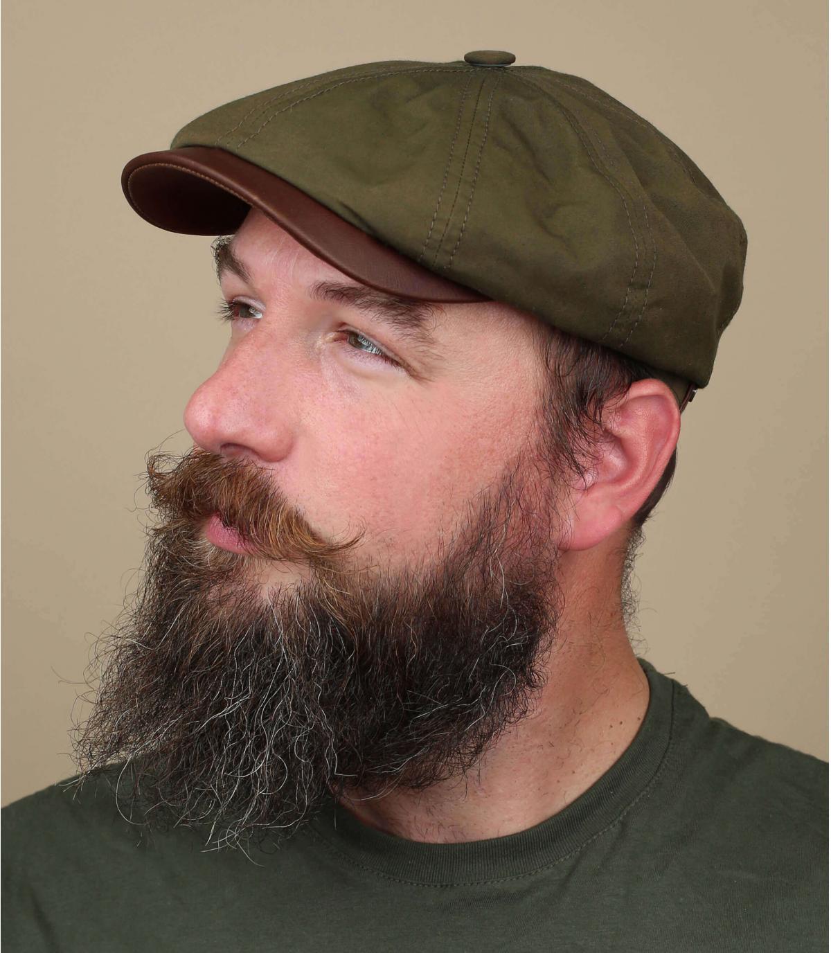 green newsboy cap Stetson