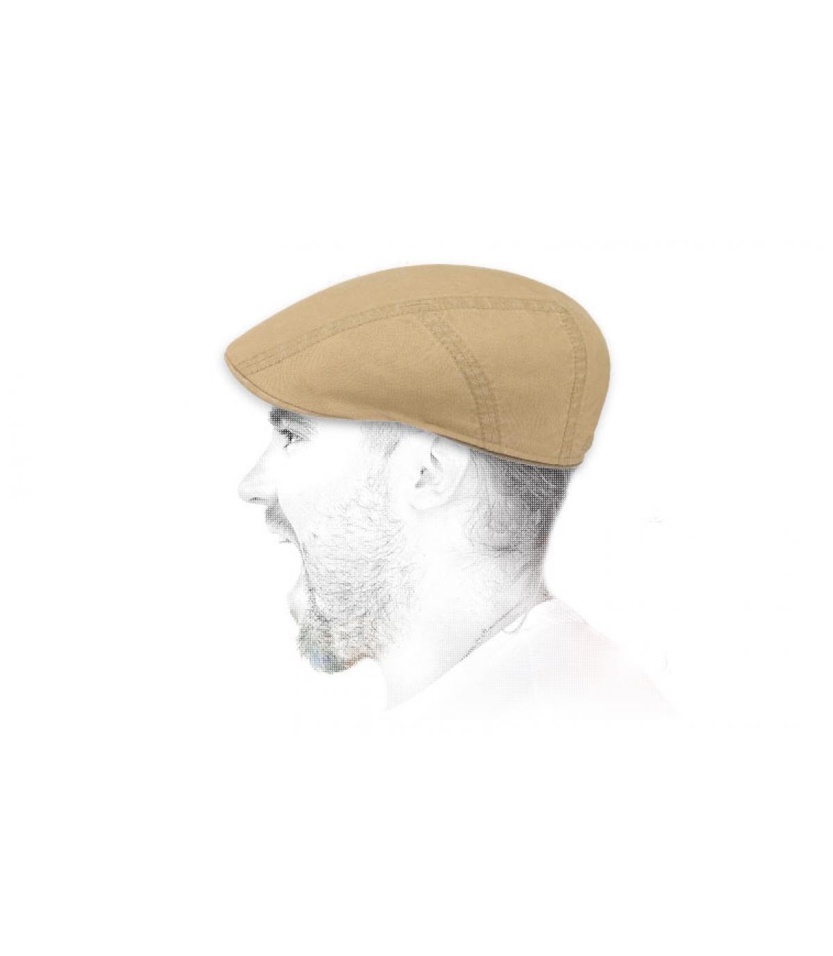 beige flat cap linen cotton