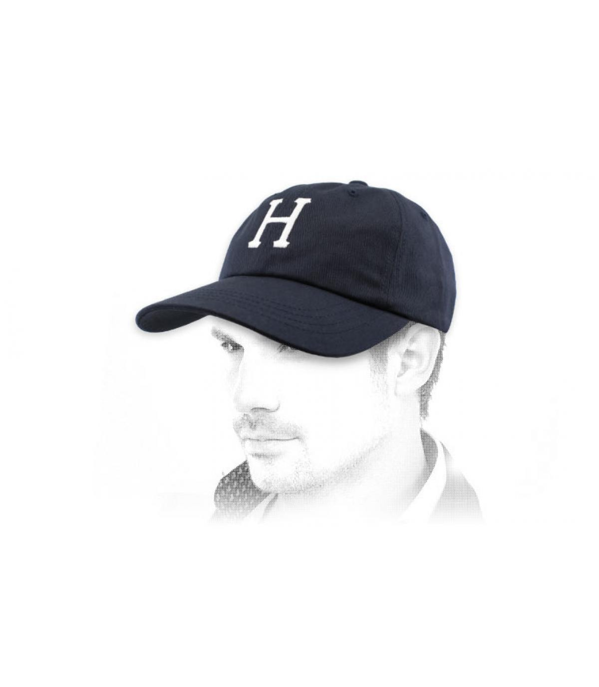 navy blue H cap