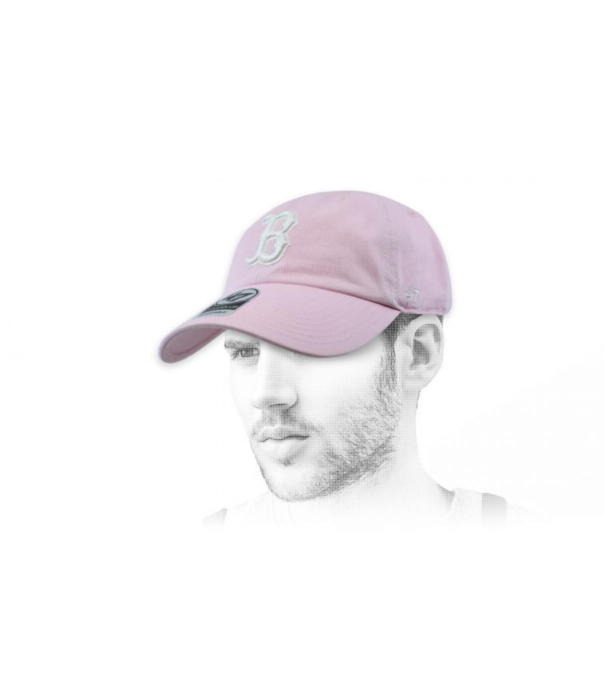 pale pink B cap