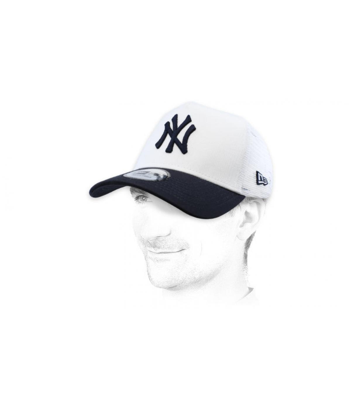 white blue NY trucker cap