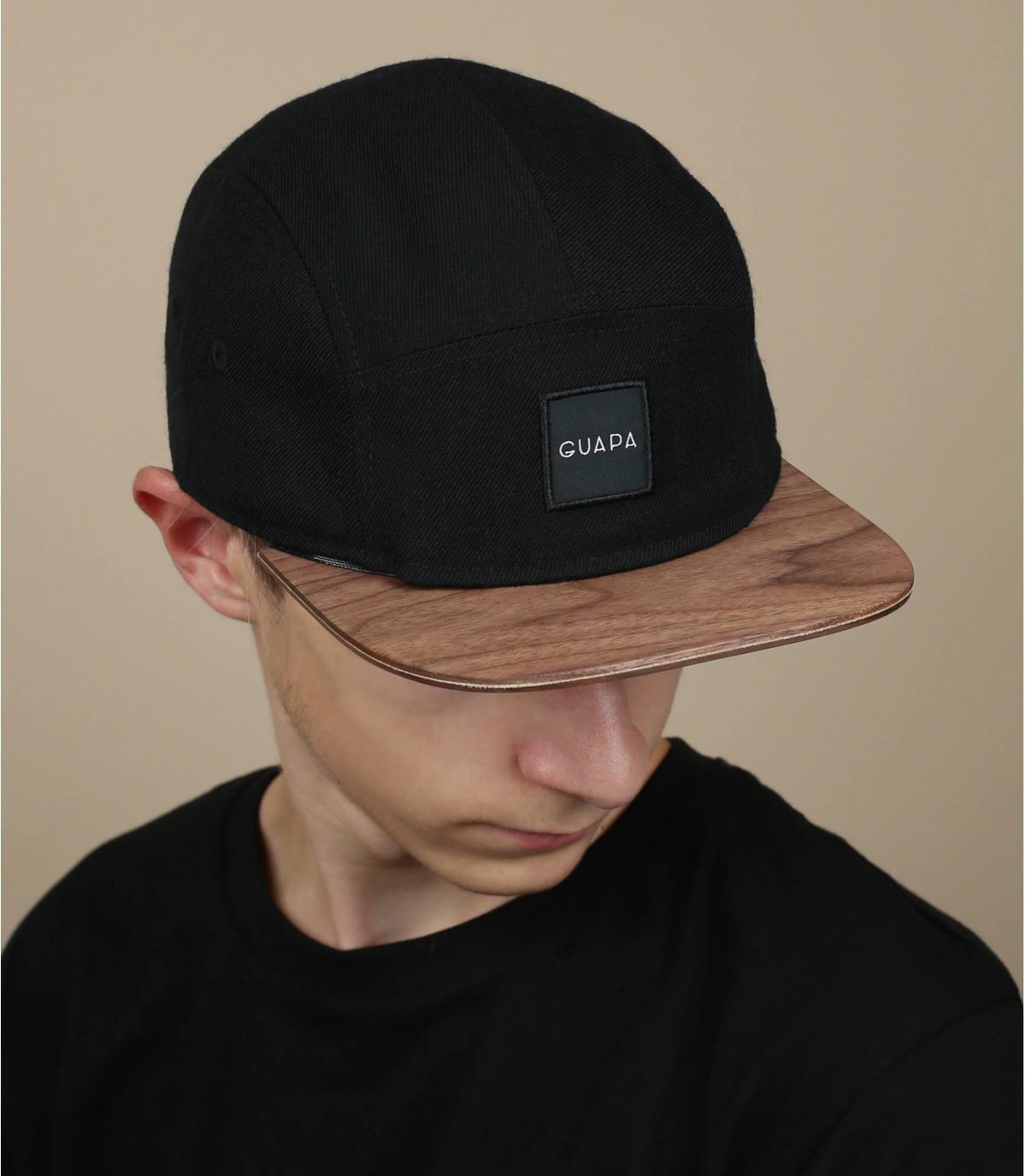 black 5 panel cap wood