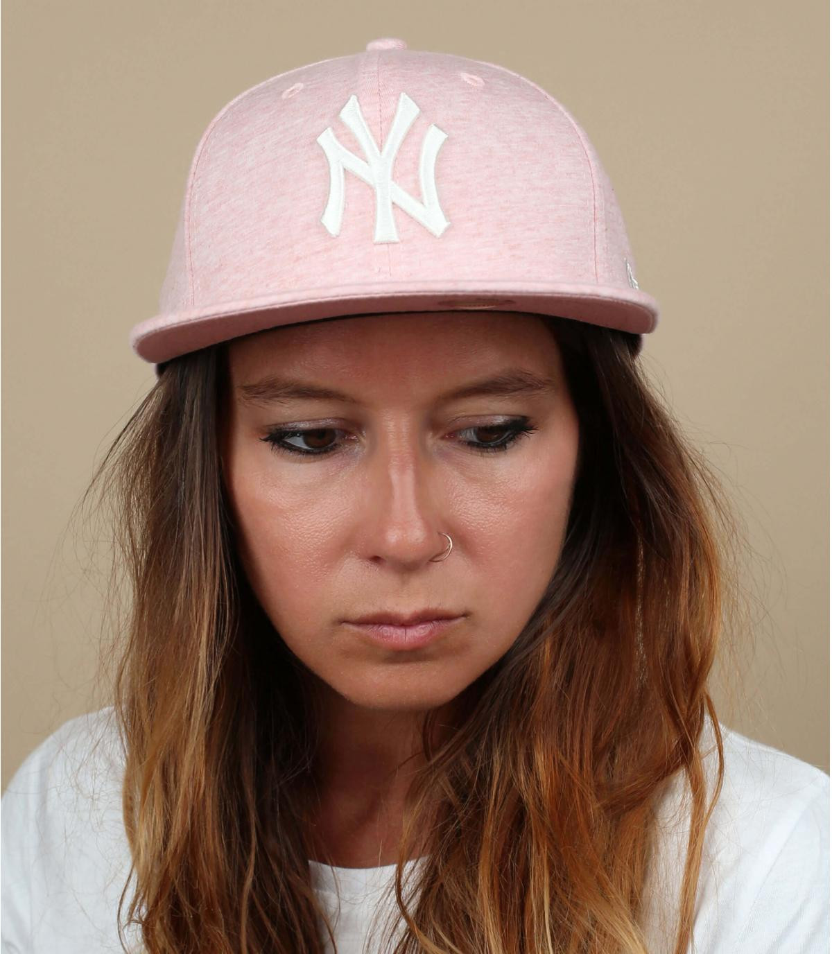 pale pink NY snapback