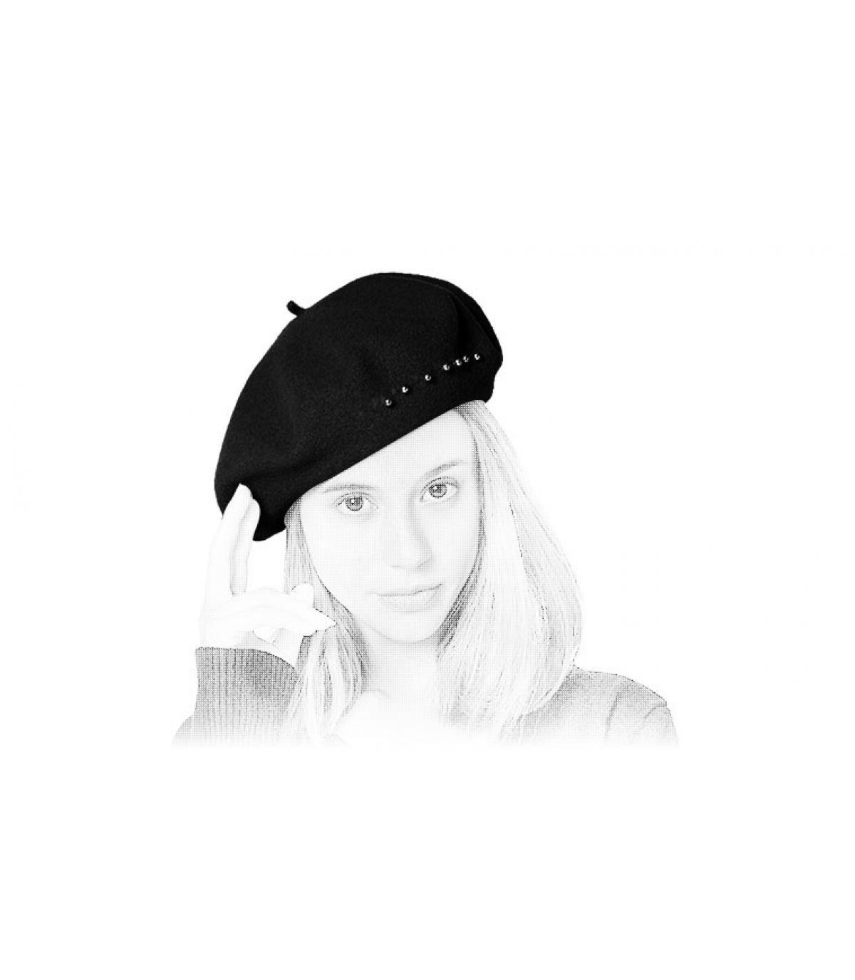 black flat cap pearls