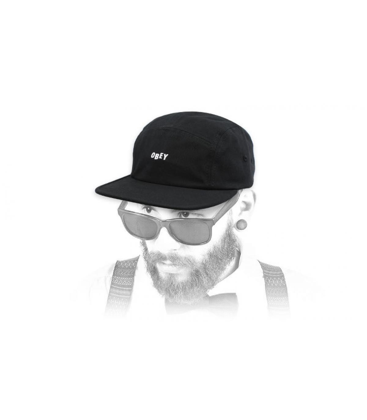 black 5 panel cap