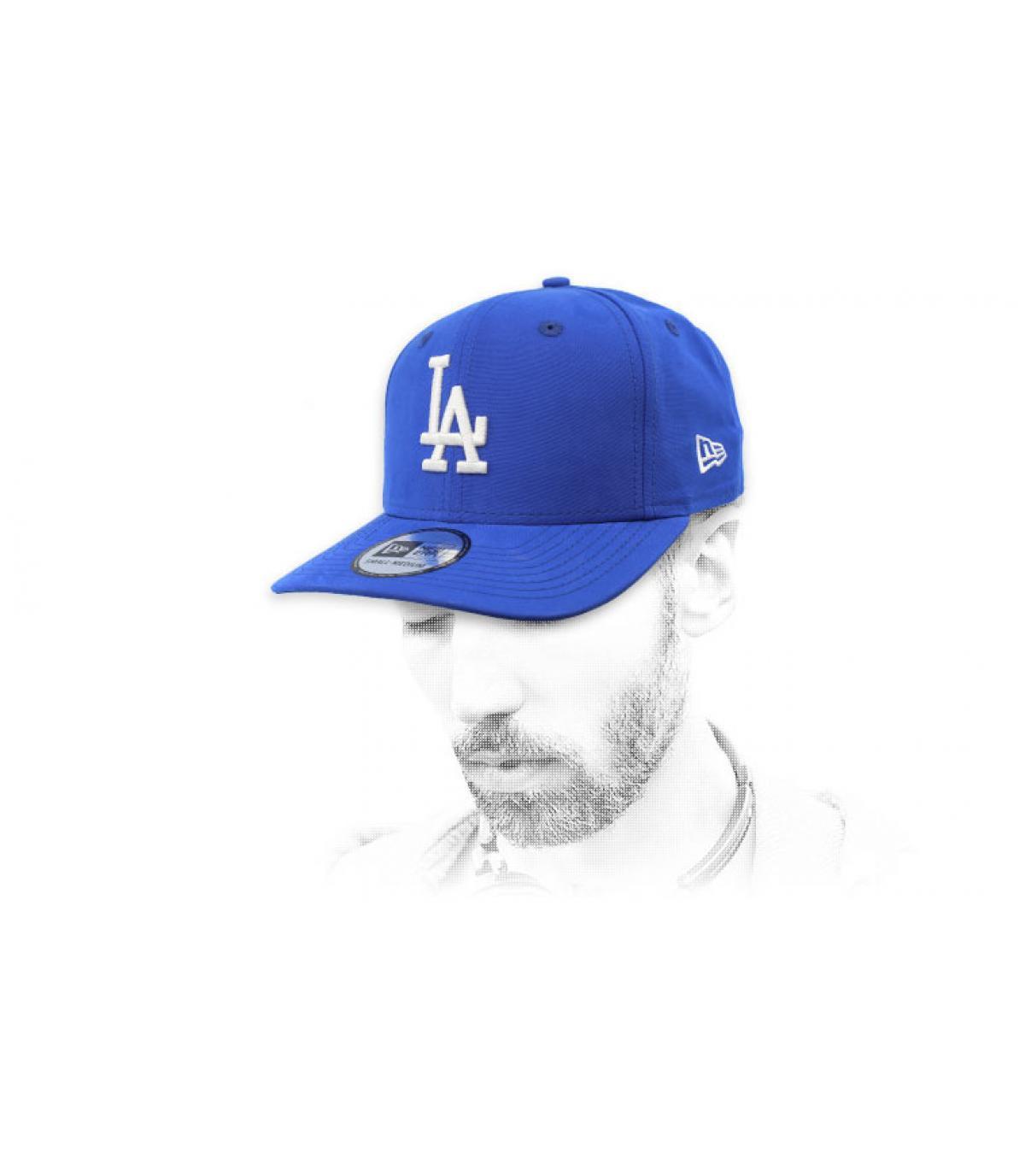 water repellent blue LA cap