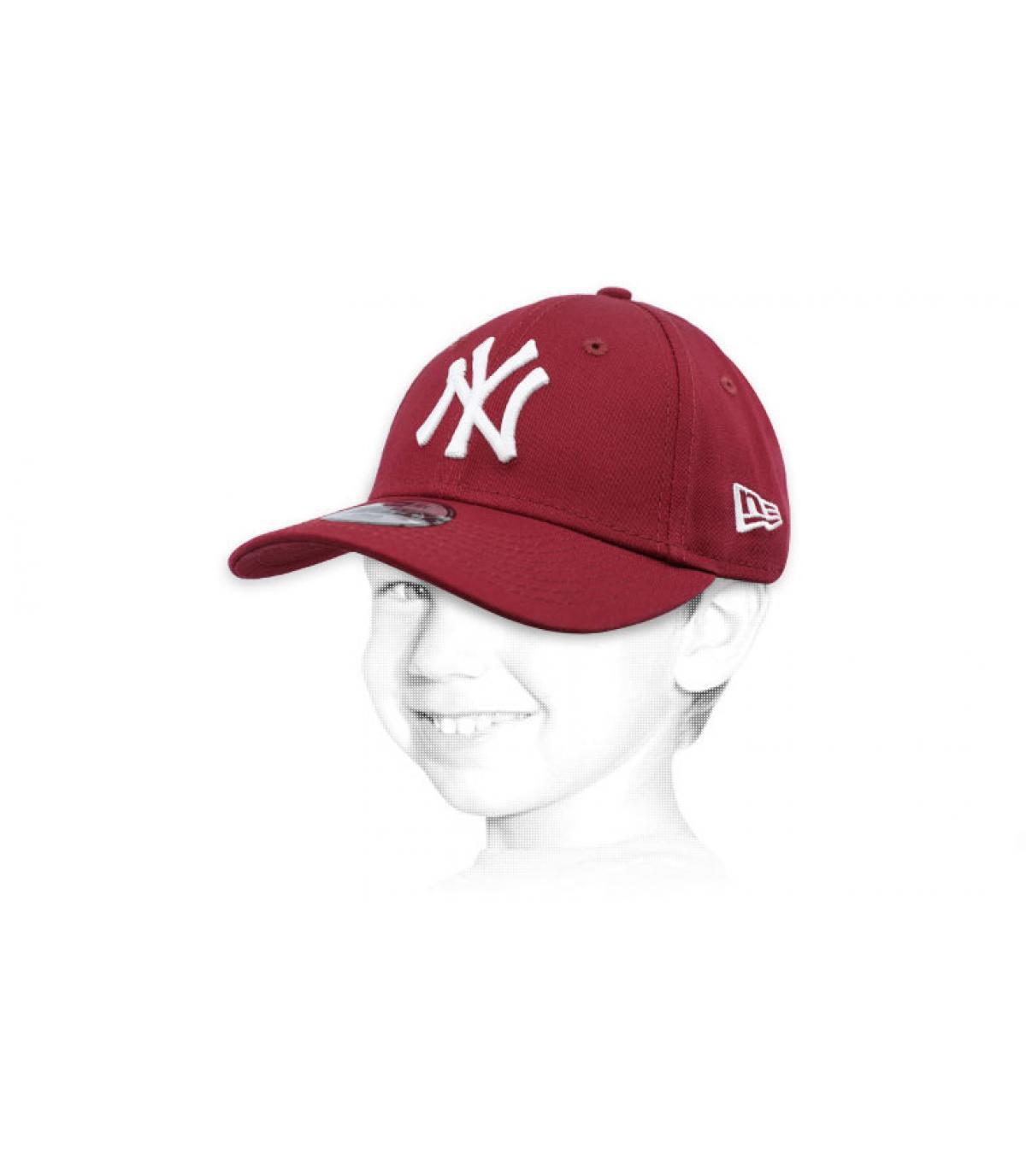 child burgundy NY cap
