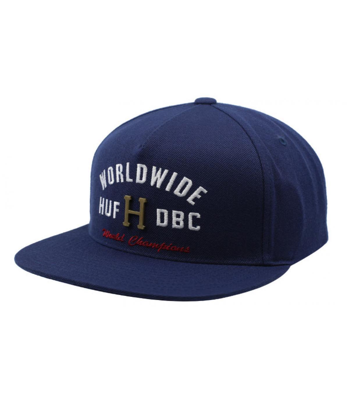 blue Huf cap metal logo