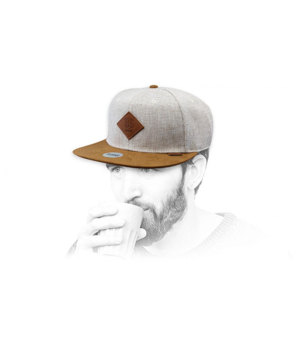 beige snapback suede
