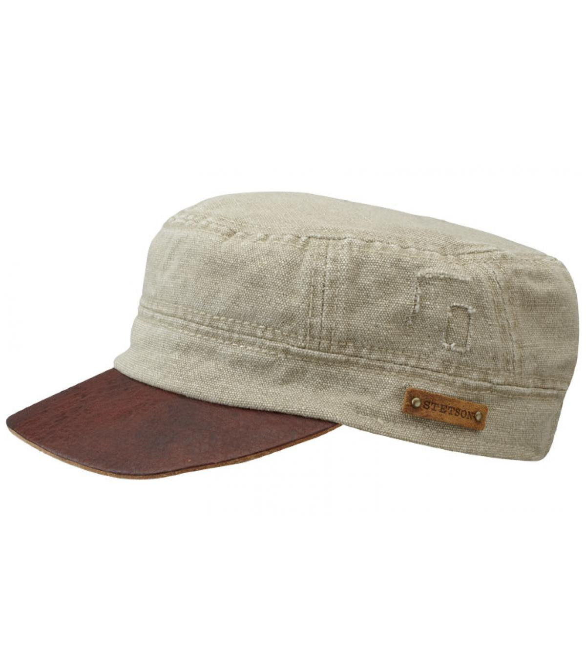 Army cap leather visor