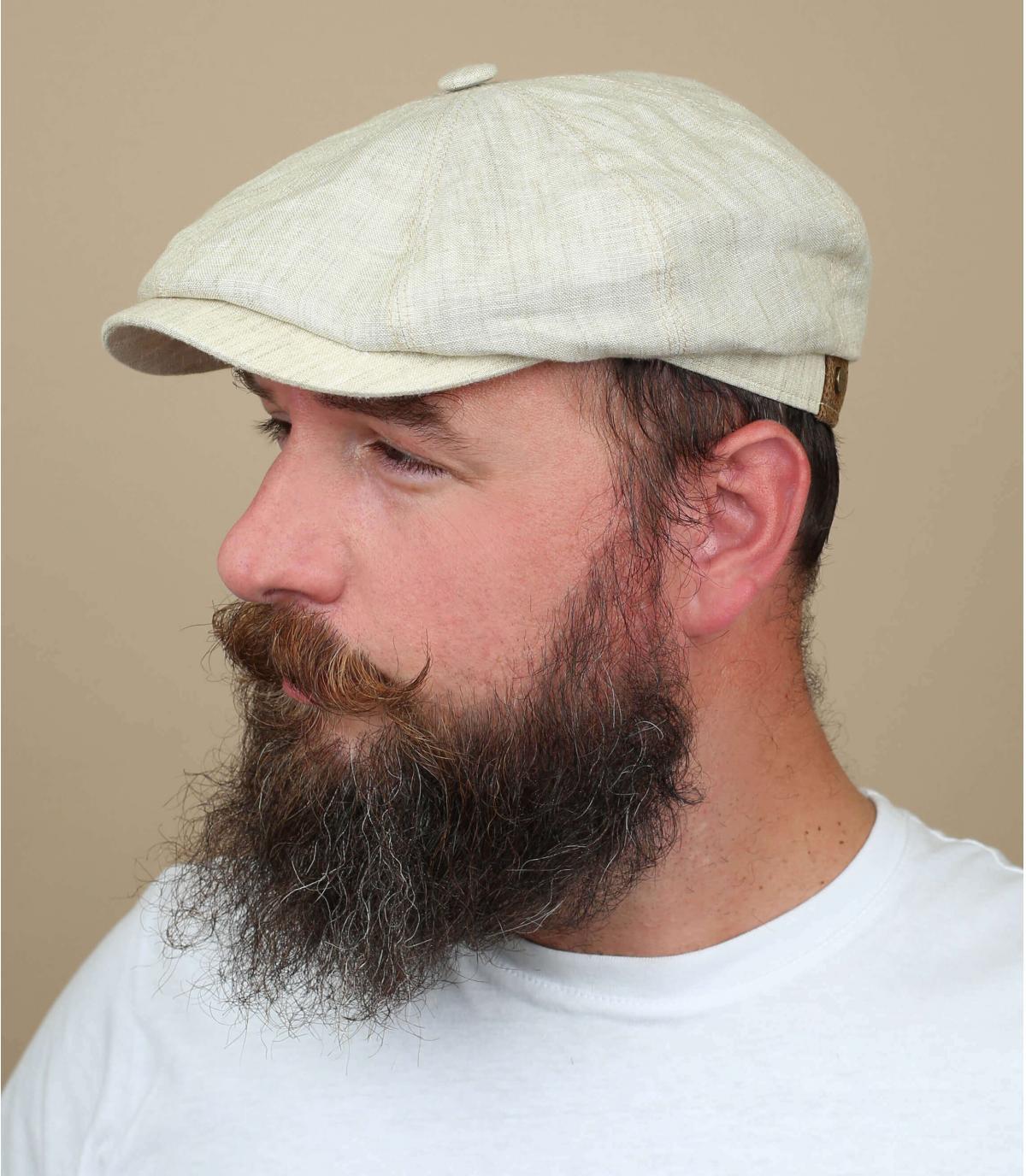 Cream linen parisian cap