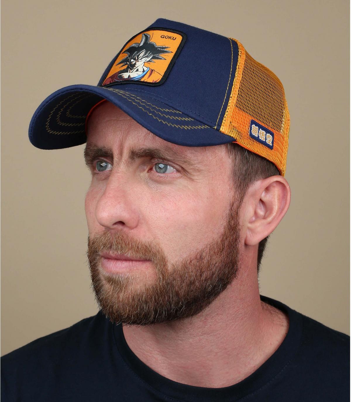 Son Goku trucker cap blue orange