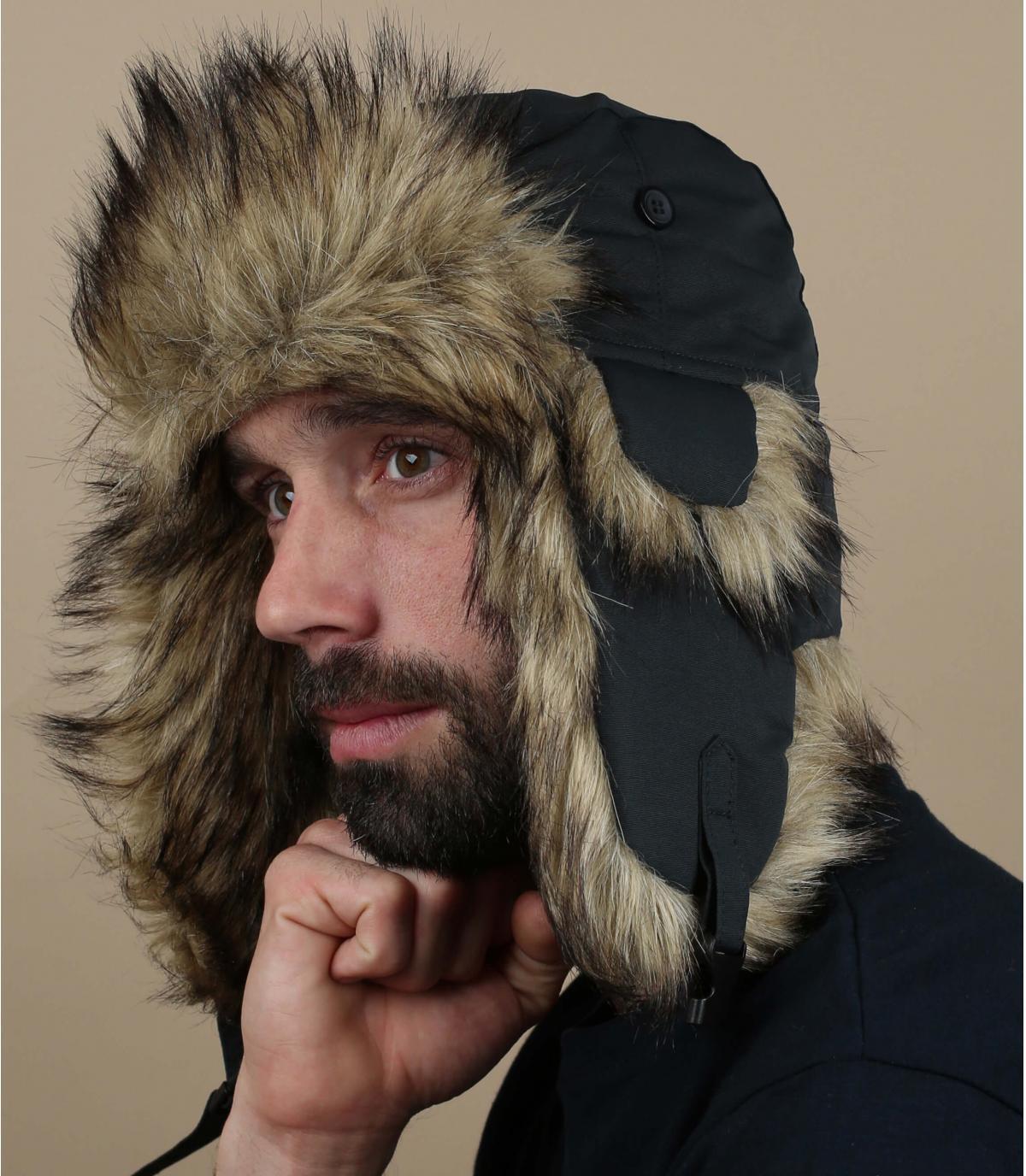 black Fjällräven trapper hat