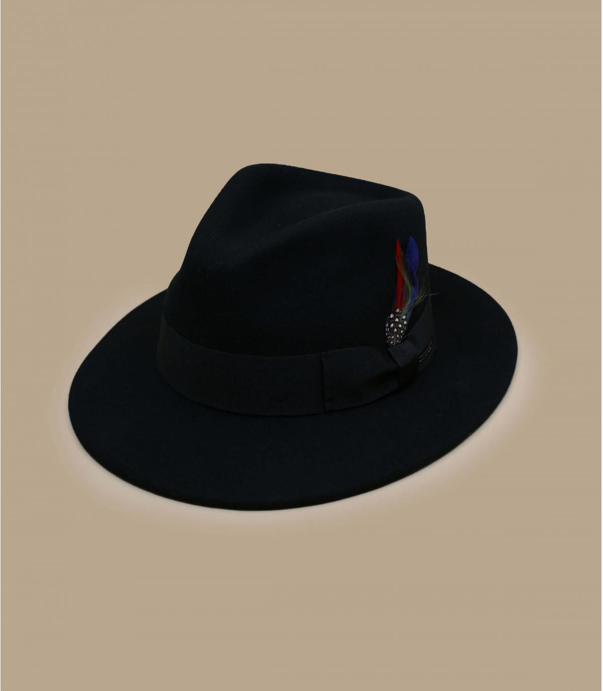 black wool cashmere fedora