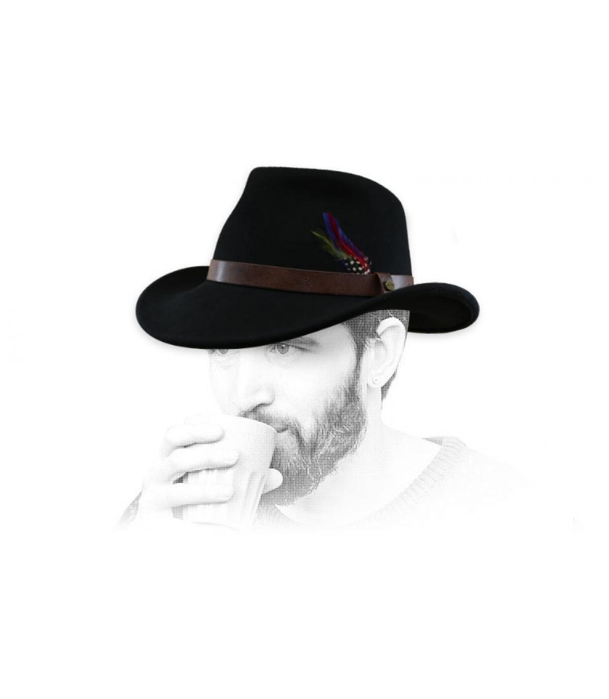black felt cowboy hat