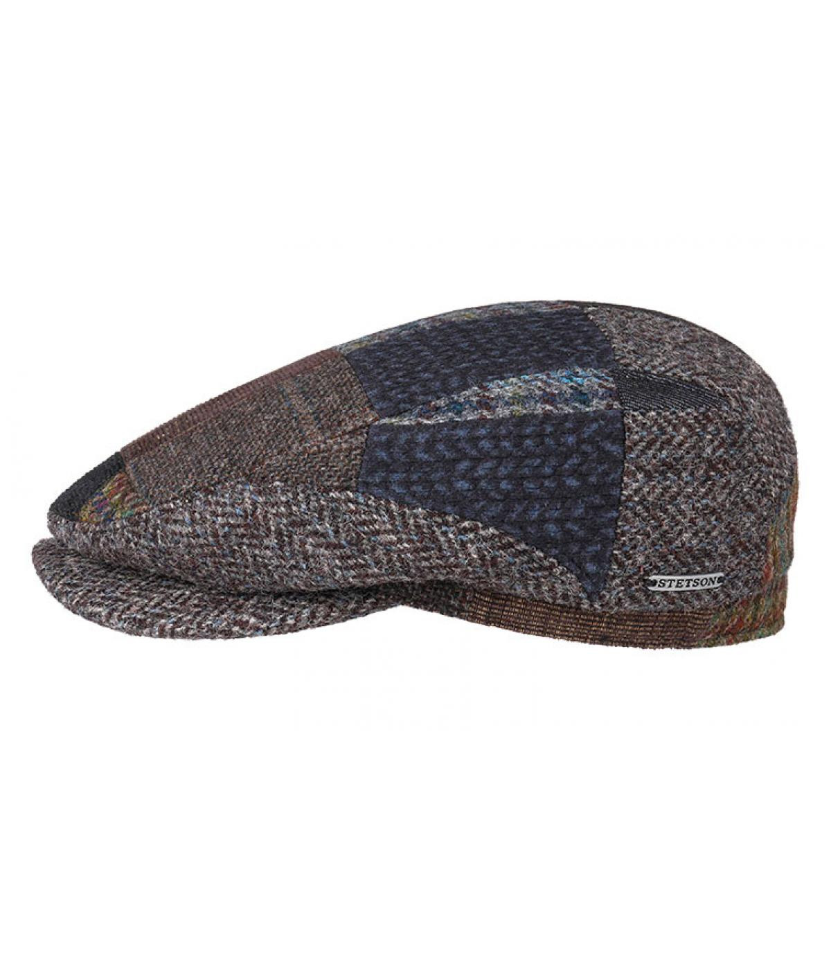 wool patchwork flat cap