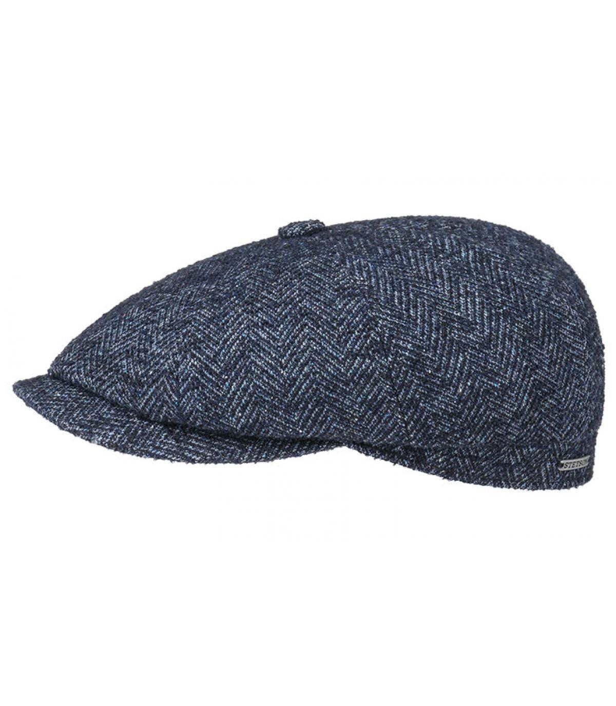 0b281258 blue newsboy cap wool - Hatteras Virgin Wool blue herringbone by ...