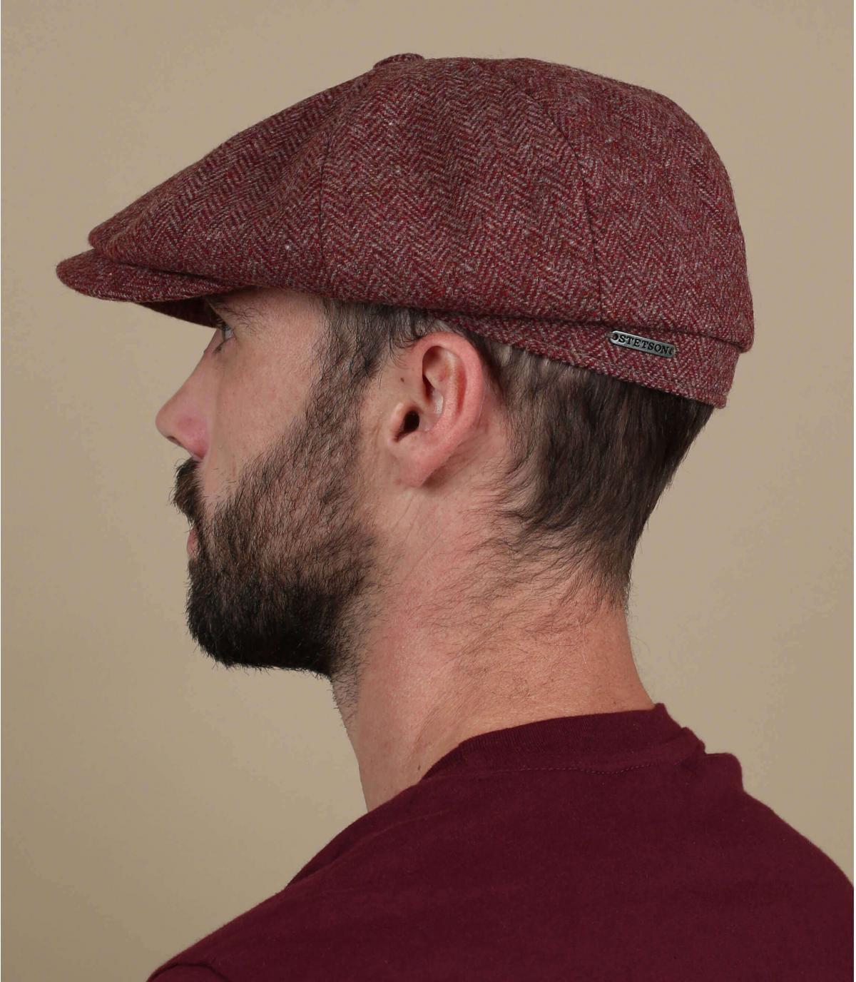 burgundy newsboy cap wool