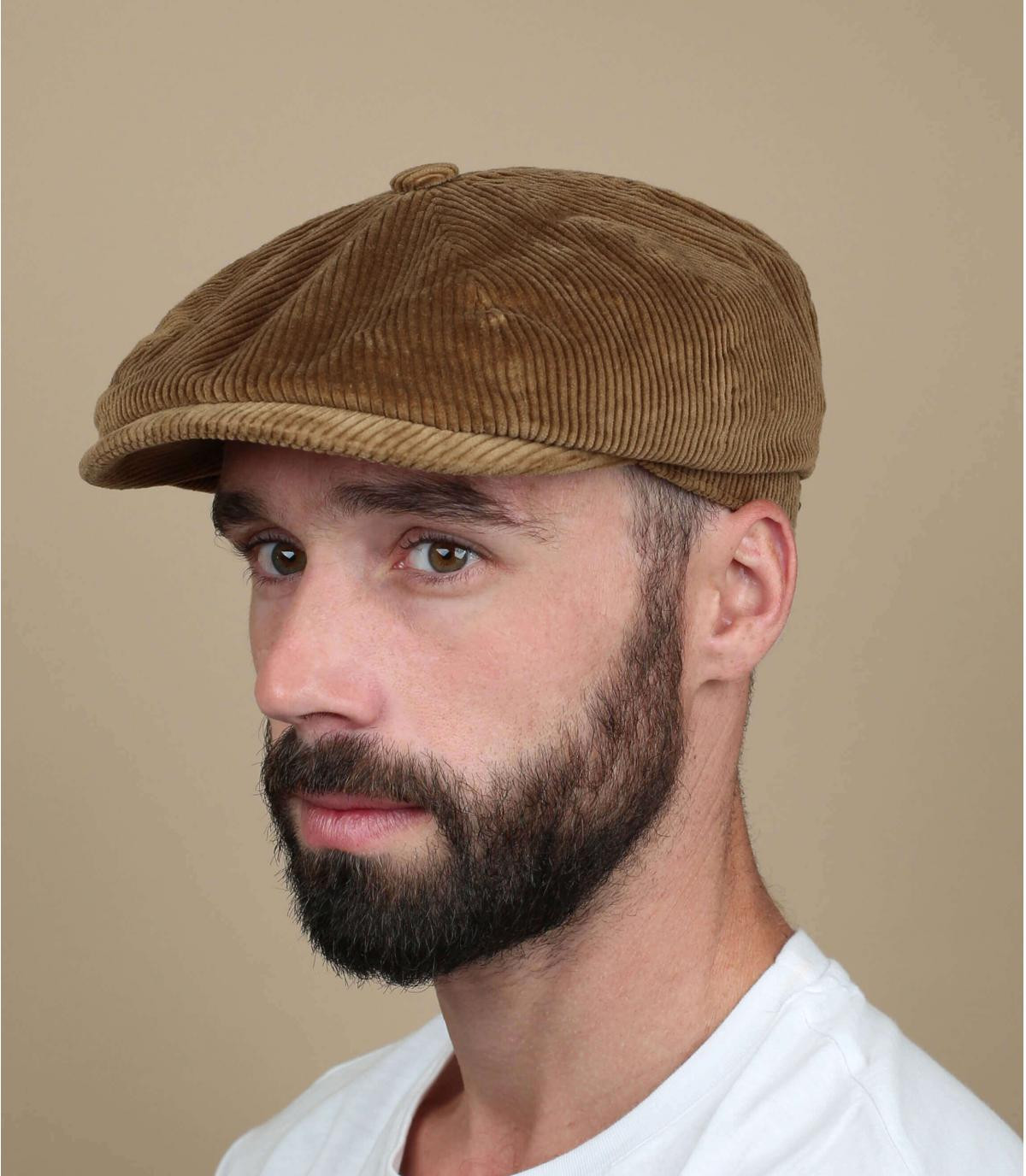 beige newsboy cap corduroy