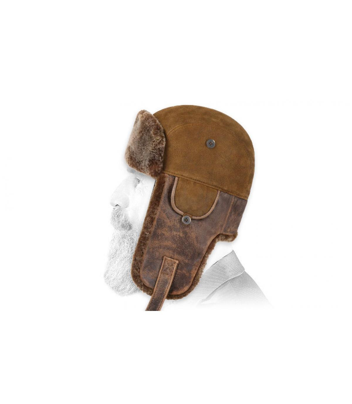 brown leather trapper hat