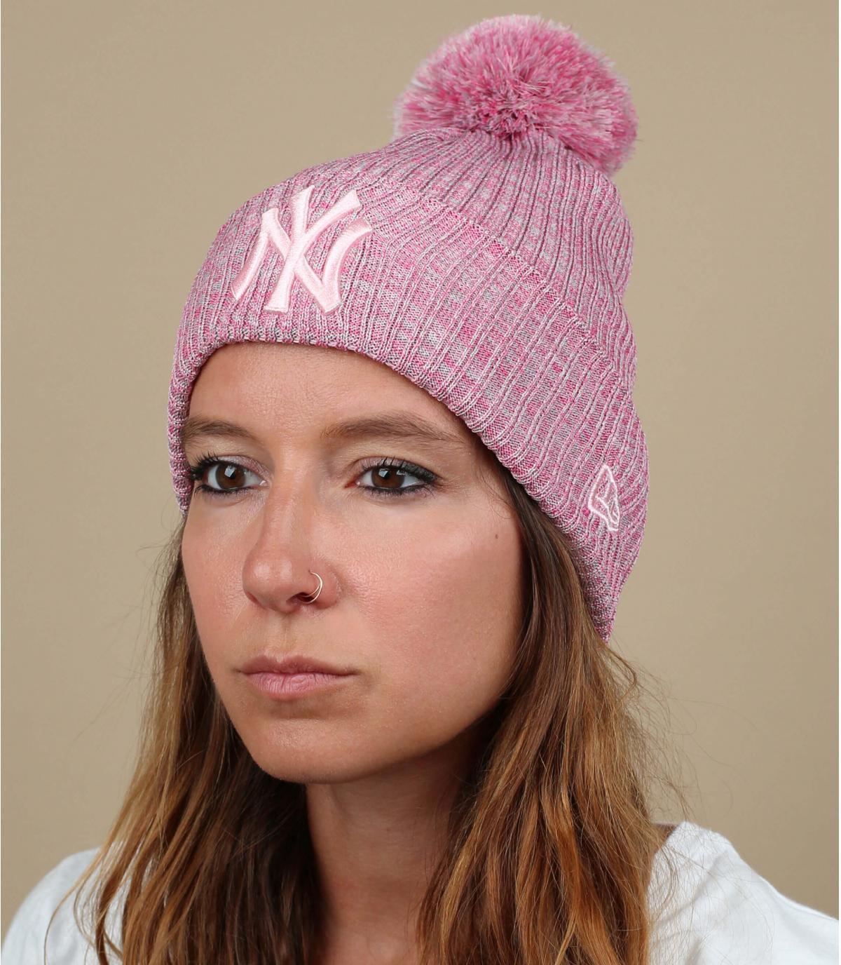 pink NY beanie