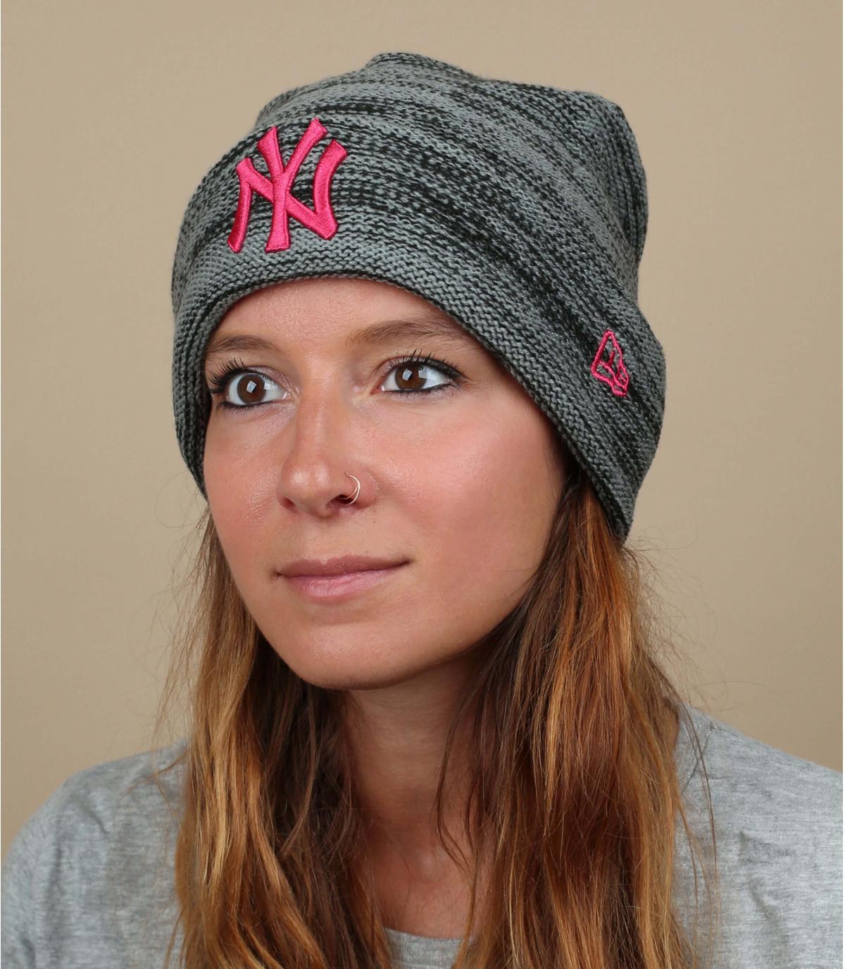 grey pink NY beanie