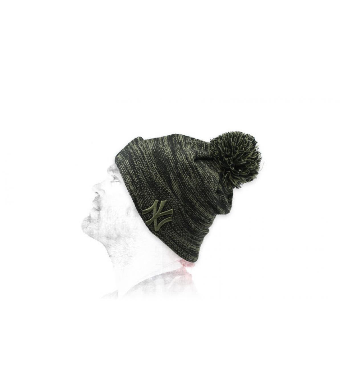 black grey NY beanie.