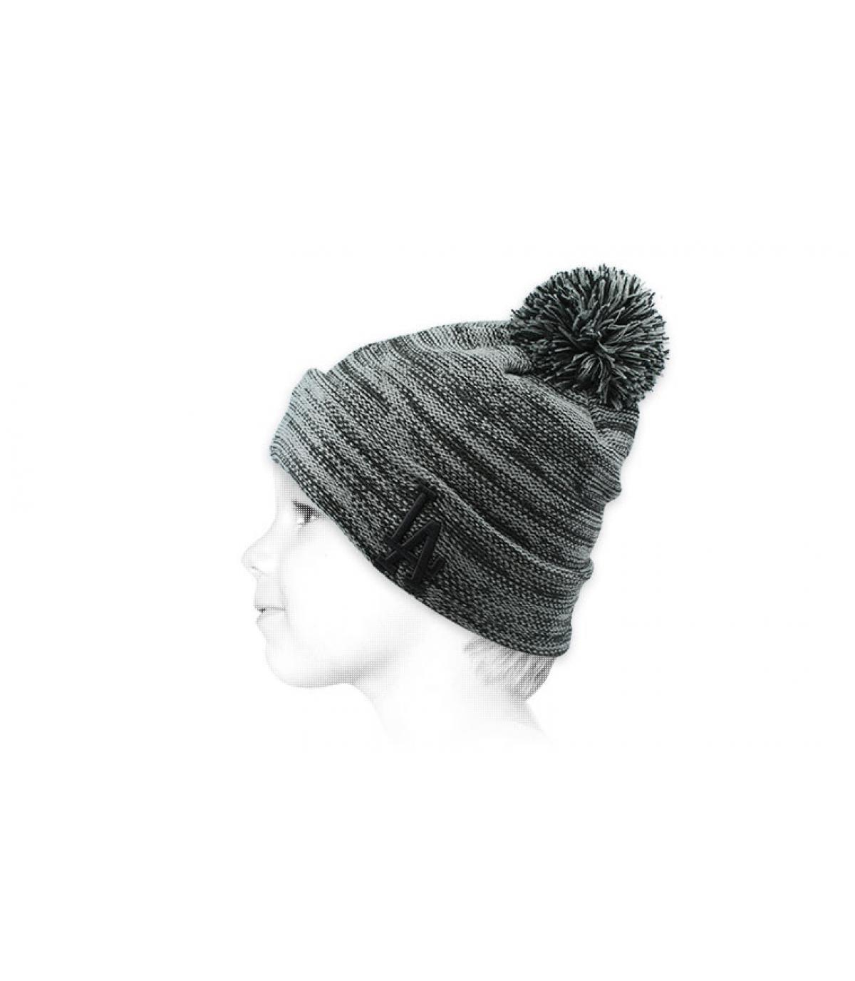 grey LA beanie pompom