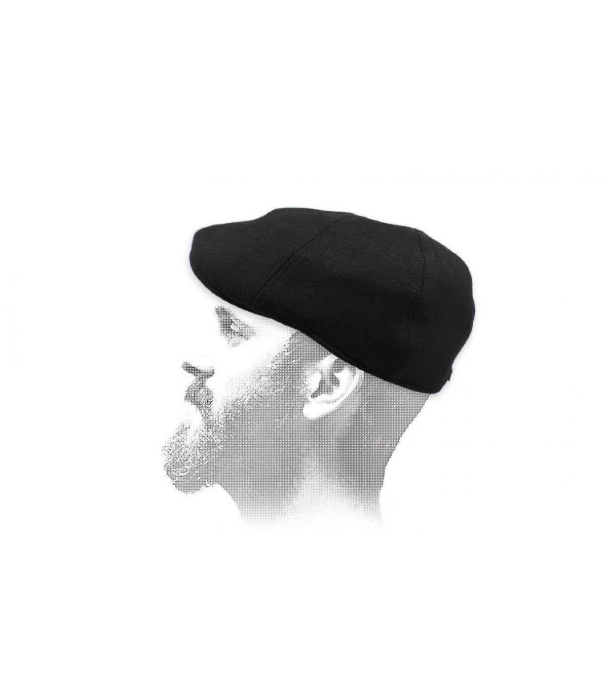 black wool duckbill cap
