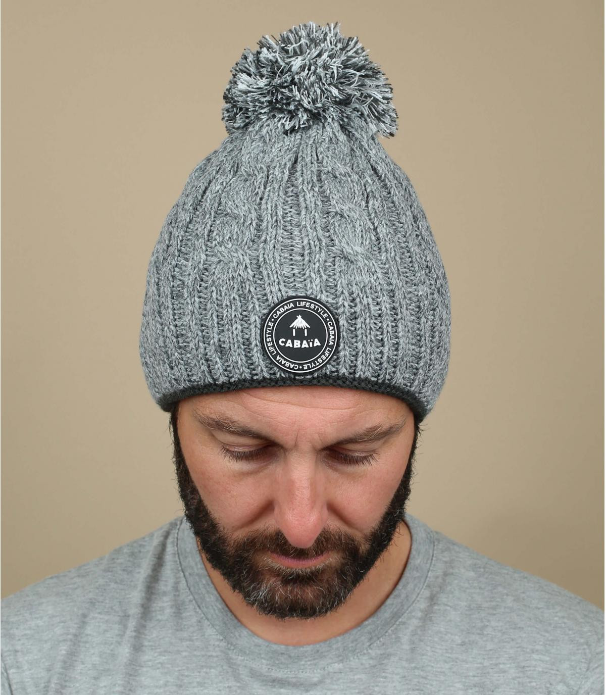 grey beanie pompom cable knit