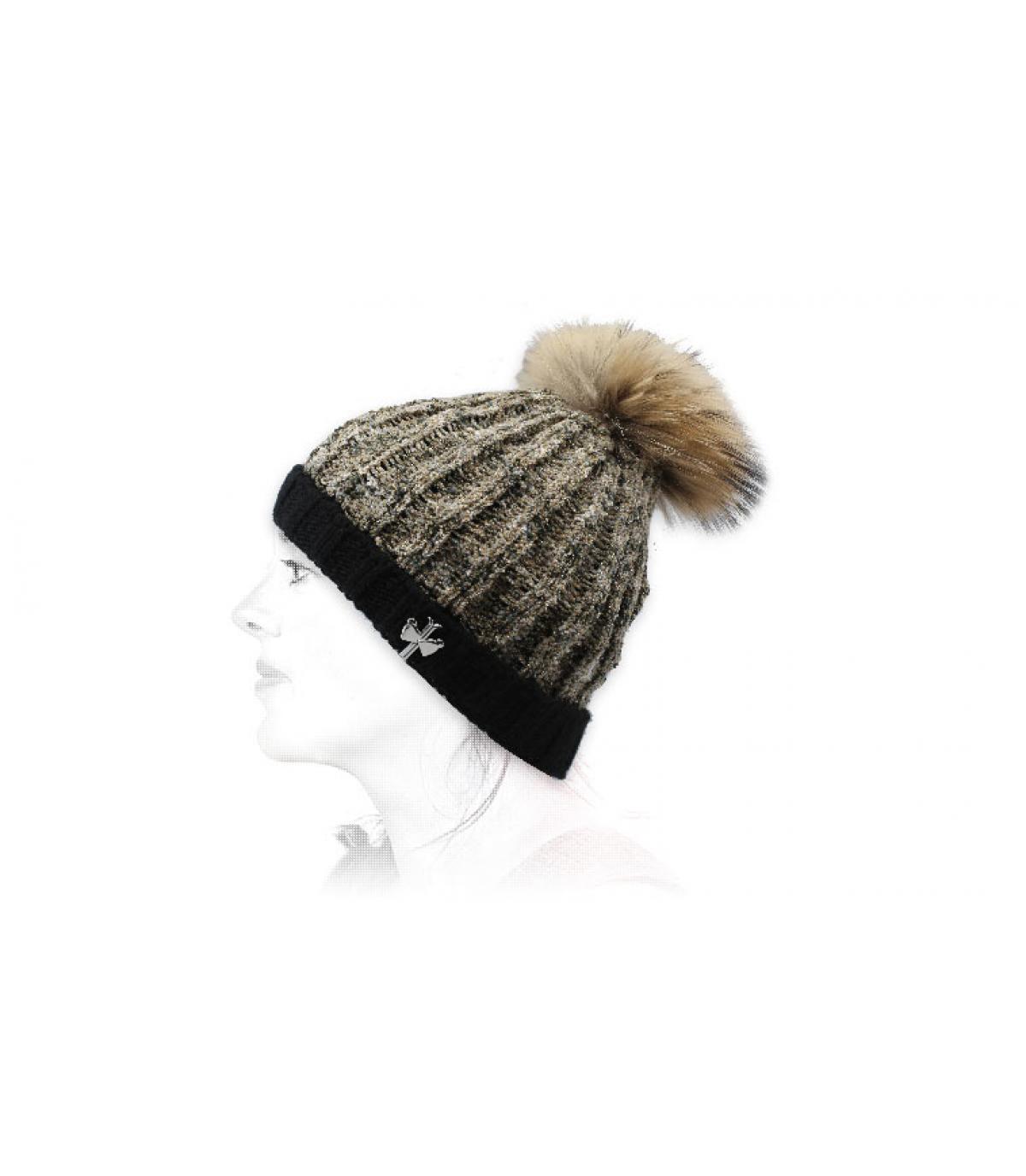 black beige wool beanie