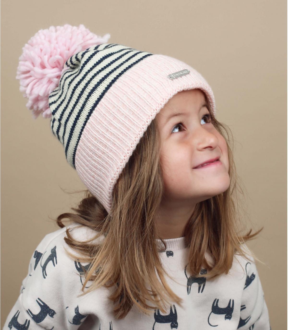 child pink beanie pompom