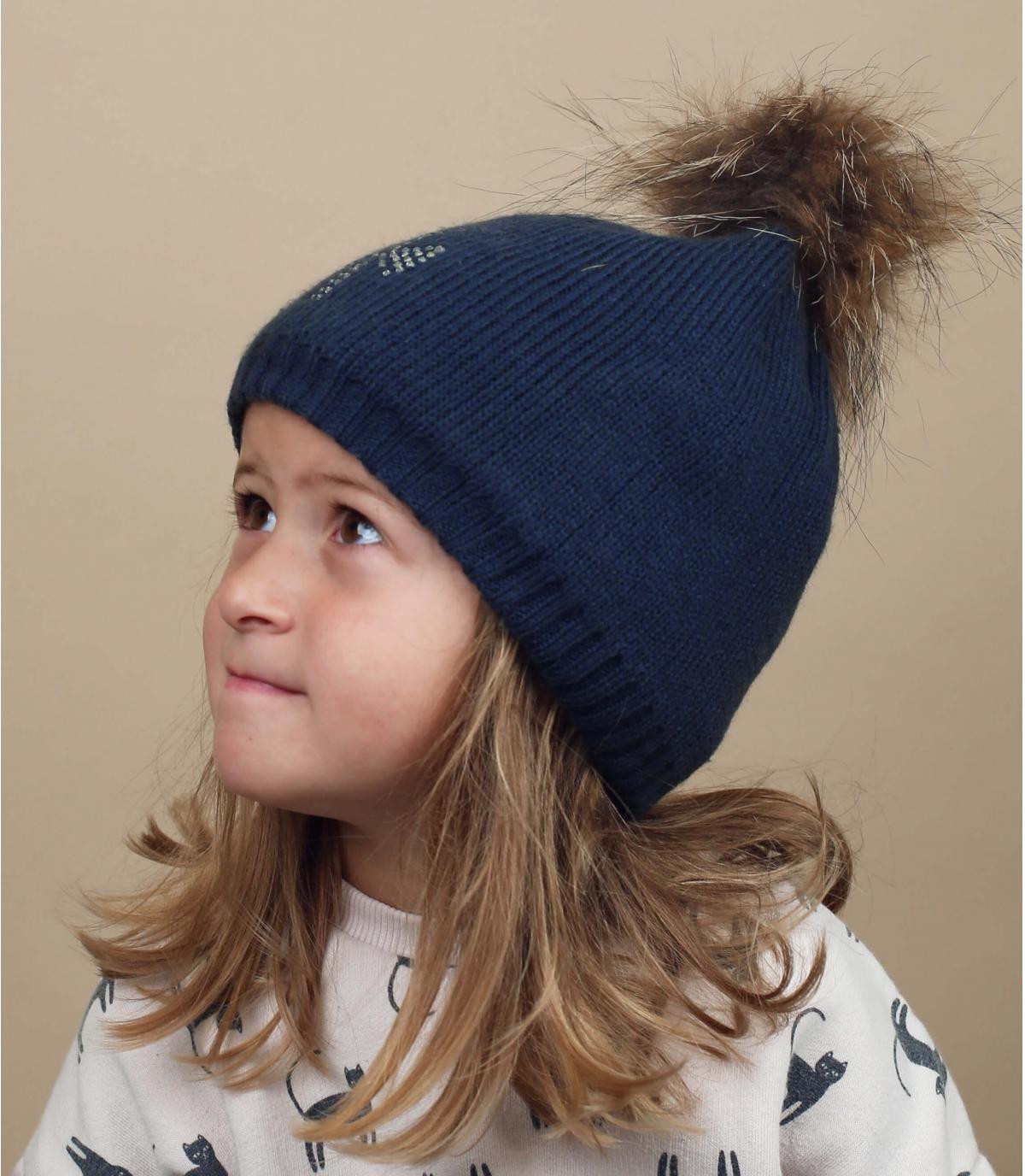 navy child beanie fur pompom