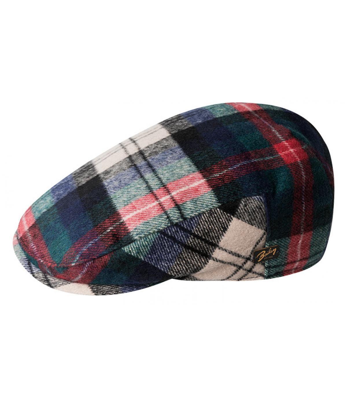 green wool flat cap plaid