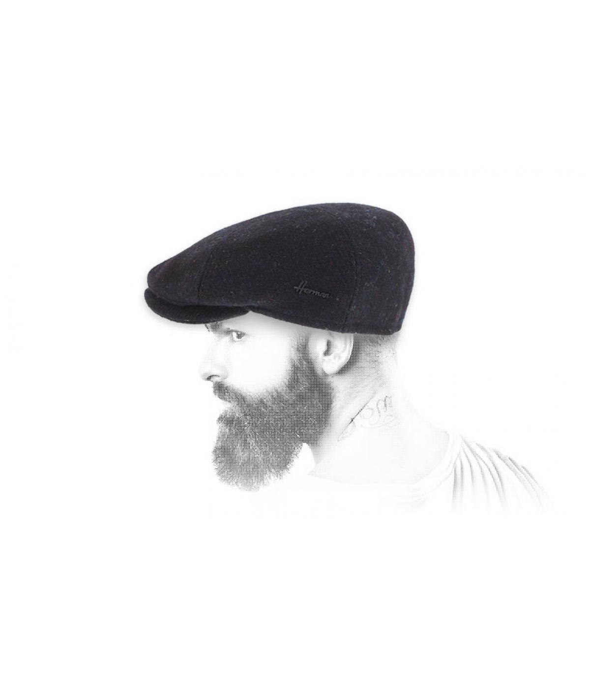 black tweed flat cap Herman