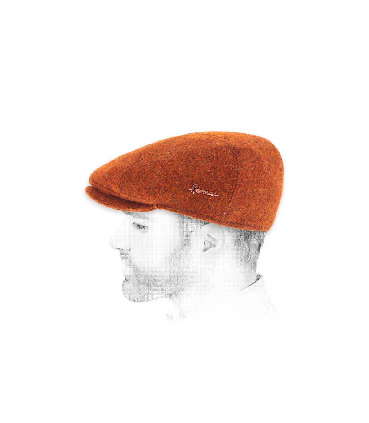 orange tweed flat cap Herman