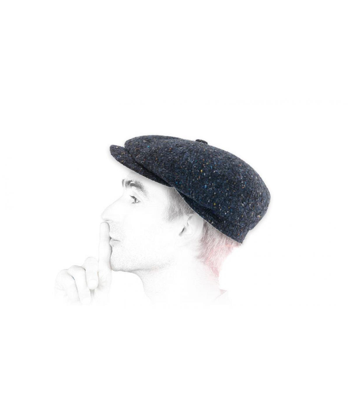 Newsboy cap heather blue wool