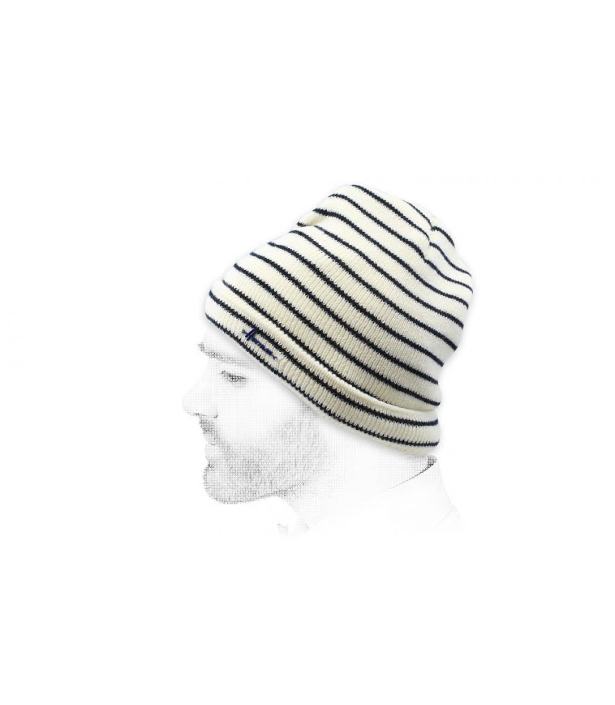black white striped beanie