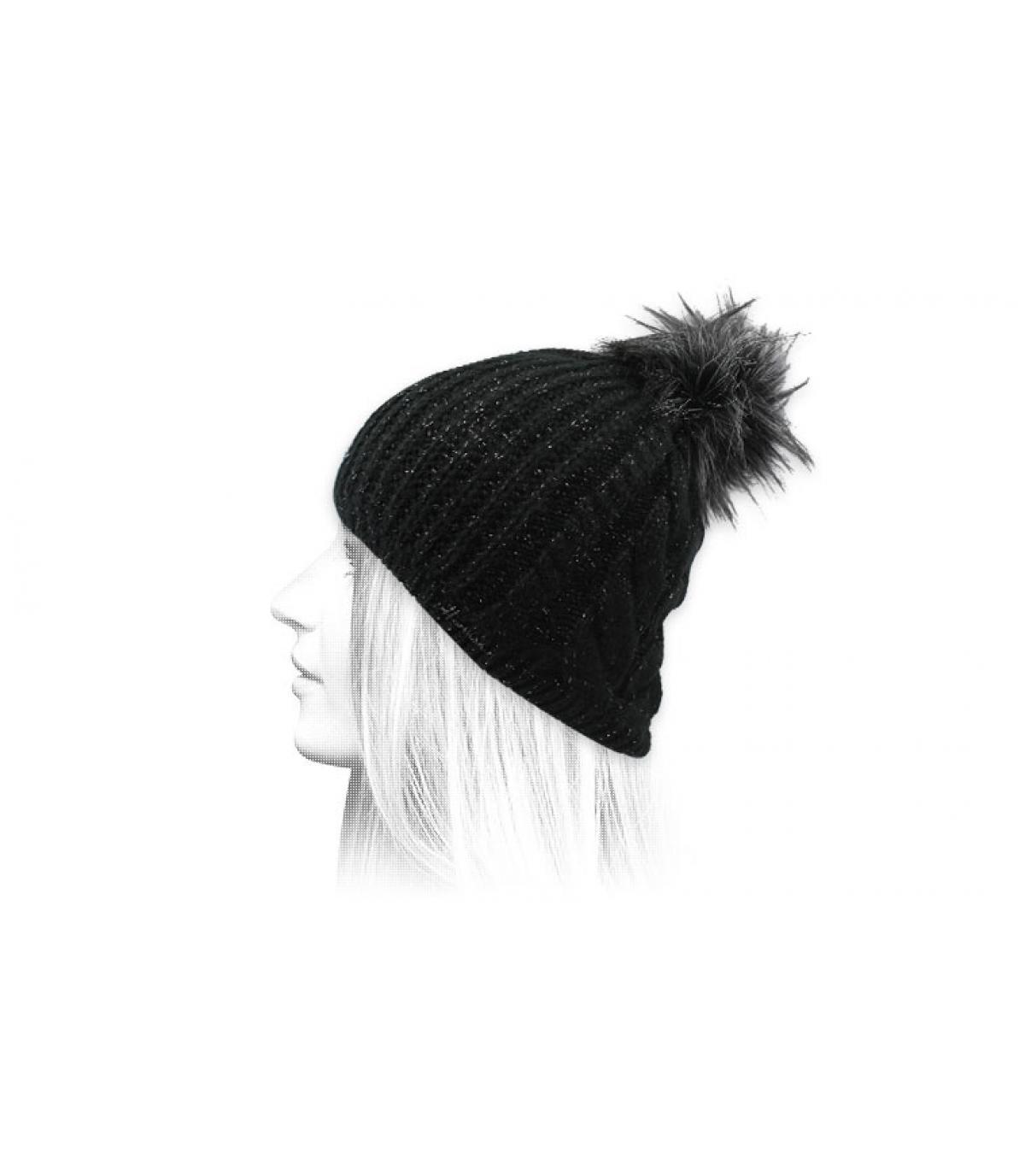 black beanie Lurex pompom