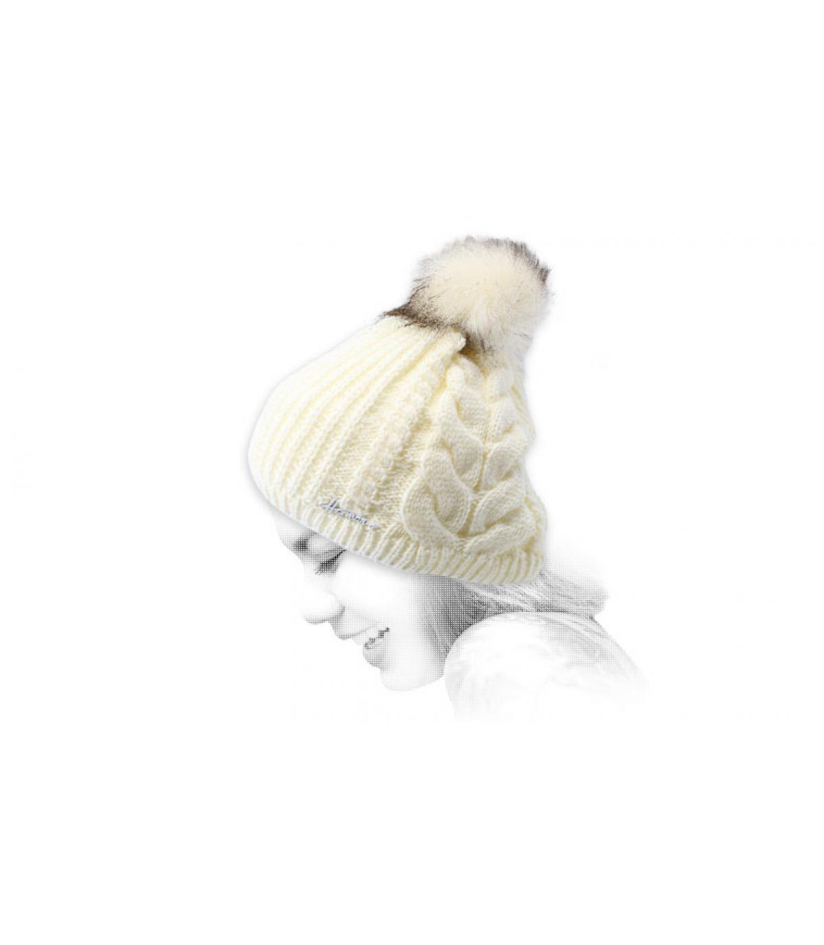 white pompom beanie Lurex