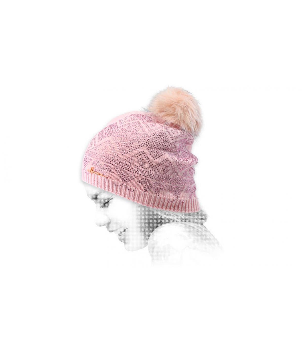 pink beanie fur strass