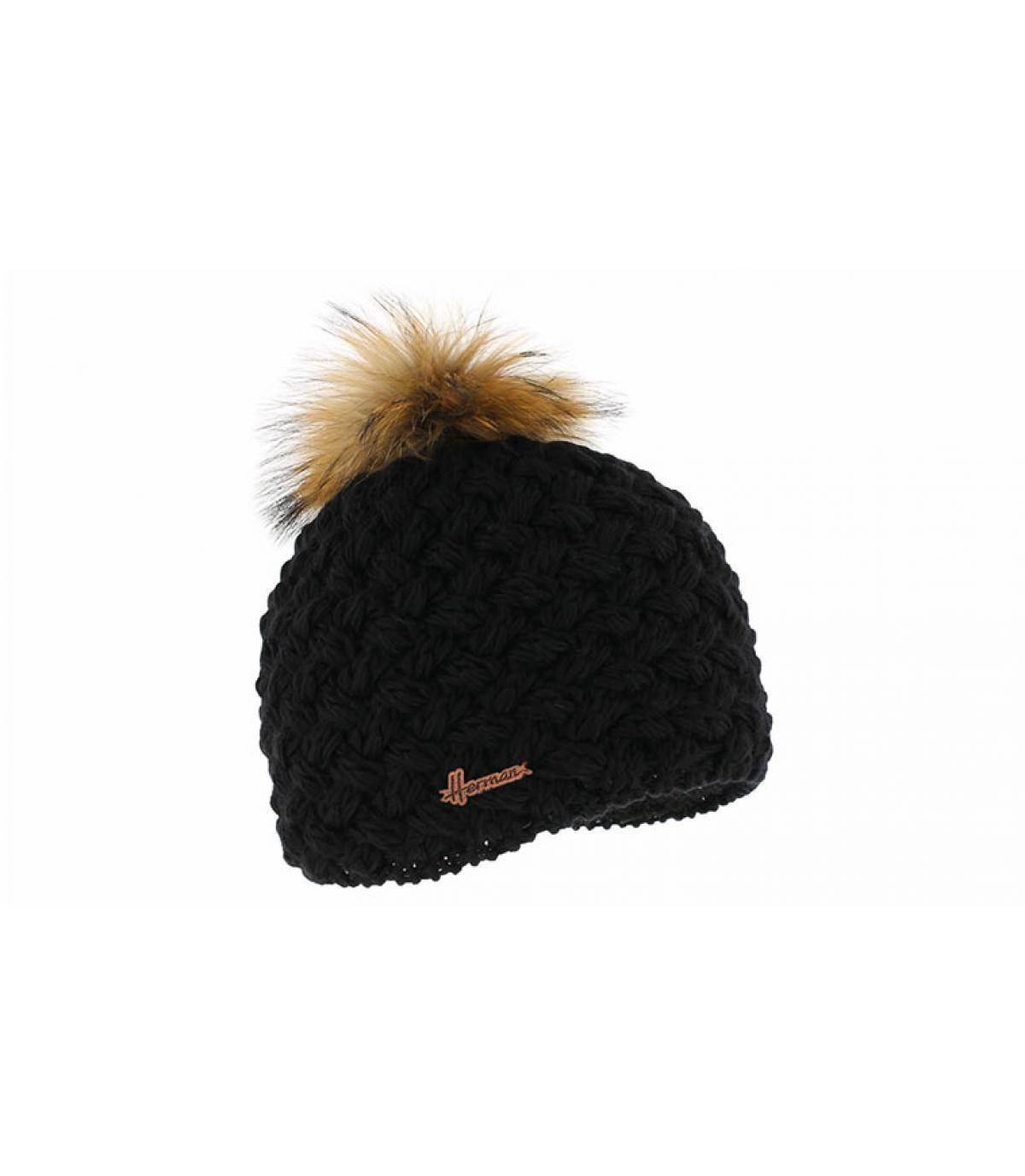 black wool beanie pompom