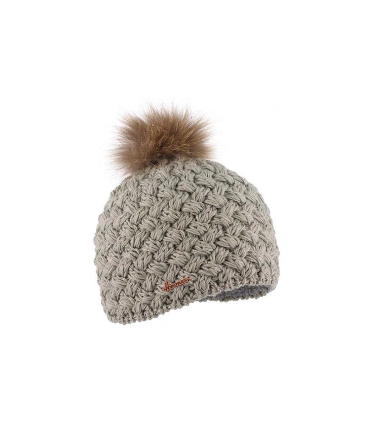grey wool beanie fur