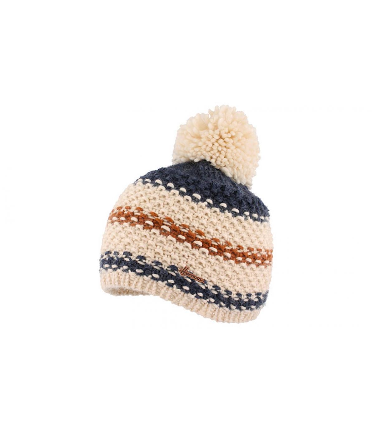 blue striped pompom beanie